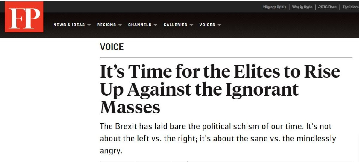 'Elites' called to Arms: 'Time to rise up against Ignorantmasses'