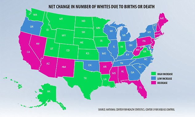 More white people are dying than being born in a third of the states, according to new research