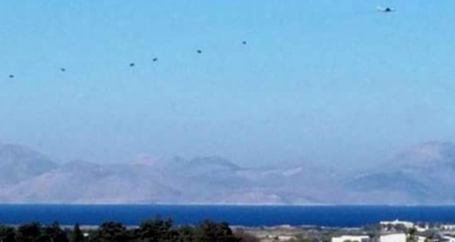 Photo obtained from social media shows Greek special forces landing on the Island of Kos