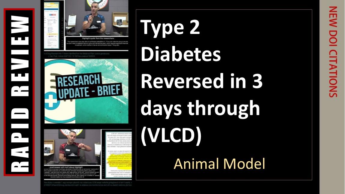 Diabetes reversed in 3 days through diet ( AnimalModel)